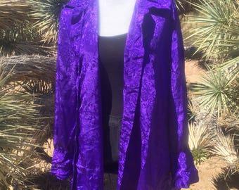 Vintage Purple kimono Shirt with Floral Pattern