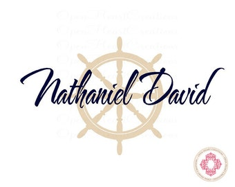 Nautical Wall Decals with Kids Name - Helm Boat Steering Wheel with with Name Decal Overlay - Baby Nursery Decals BA0026