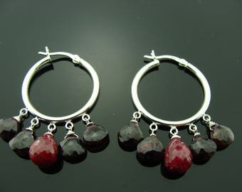 Ruby and Garnet Hoop 925 Sterling Silver Earrings