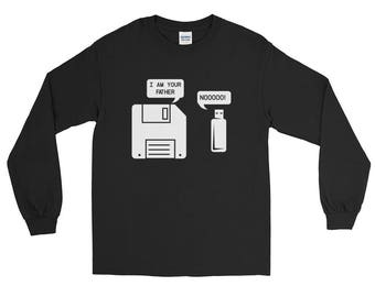 USB Floppy Disk I am Your Father Long Sleeve T-Shirt, Funny Geek Gifts , Tech Computer Gift for men and women, computer geek gifts