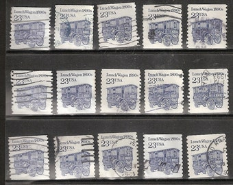 25 LUNCH WAGON Used & Cancelled U.S. 23c Postage Stamps  (Blue and White in Color)
