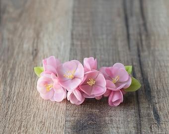 Cherry blossom flower barrette - flower hair barrette - pink barrette - apple blossom, sakura – french barrette - wedding barrette
