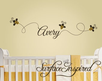 Nursery Wall Decals - Buzzing bee wall decals with custom name. Bees and name wall decal included. 1101