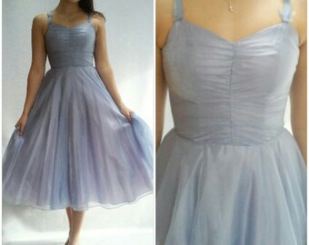 Blue TULLE Dress / Chiffon Dress / Ice Blue / 24 Waist