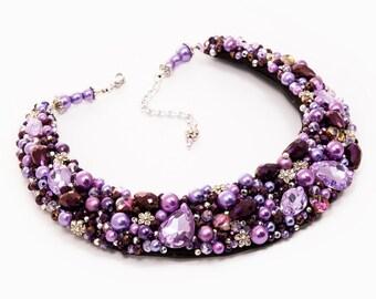 PURPLE HEART - statement necklace, beaded necklace, intense purple