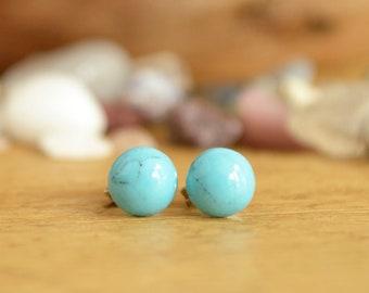 Turquoise Stud Earrings - Dainty Stud Earrings - Blue Green Earrings - Small Gemstone Earrings - Minimalist Jewelry - December Birthstone