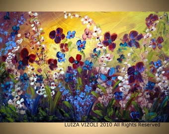 Original Modern Abstract Palette Knife Flowers Painting Orchid Garden by Luiza Vizoli