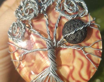 Tree of Life wire wrapped pendant with Lava bead