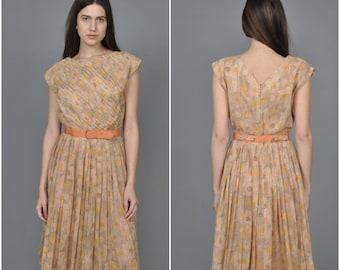 1950s R & K Orignals Abstract Print cotton dress | vintage 1950s dress | abstract print cotton dress