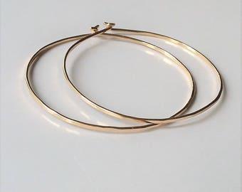 14K Gold Gold Filled Hoop Earrings, Minimalist Lightweight Hoop Earrings, Gold Hoop Earrings, Large Hoops.