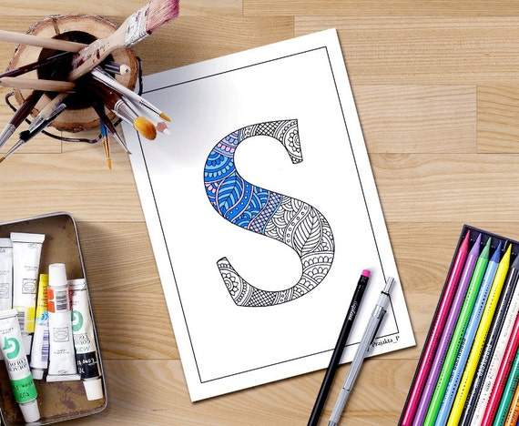Alphabet Coloring Pages S : Zentangle alphabet coloring pages for adults henna doodle