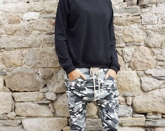 SALE NEW Fall Loose Casual Drop Crotch Harem Pants / Extravagant Grey Camo Pants/ Side zipper pockets Camouflage pants by AAKASHA A05313