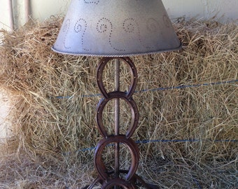 Horseshoe lamp horse decor barn cowboy decor western decor lighting christmas gift