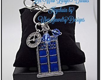 Dr Who Keychain Tardis Inspired  with blue beads
