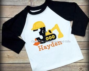 construction birthday shirt,- excavator shirt,- construction party,- boy birthday shirt,- first birthday,- second birthday,- third l
