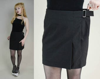 90s Black High Waist Wrap Mini Skirt M