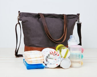 Father's Day Gift!!BIG SALE!!Waterproof Gray,Unisex Daddy waxed canvas Diaper Bag,6 pockets Nappy Bag,Canvas Leather Tote,leather diaper bag