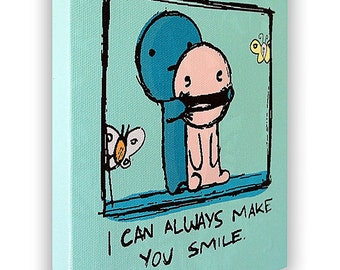 """I Can Always Make You Smile - On a Stretched Wooden Canvas Frame - 8"""" x 7"""" x 05"""" (Light Green)"""