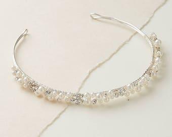 Pearl & Rhinestone Bridal Headband, Wedding Headpiece, Bridal Hair Accessories, Pearl Wedding Headband, Pearl  Headband ~TI-3202