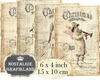 Christmas Vintage Angels Paper printable Victorian Cupids Cherubs 6 x 4 inch Instant Download digital collage sheet D208