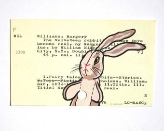 Velveteen Rabbit Library Card Art - Print of my painting of The Velveteen Rabbit on a library card for The Velveteen Rabbit book