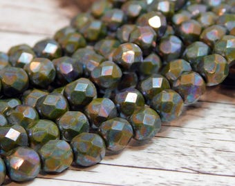 6mm - Picasso Beads - Czech Glass Beads - Fire Polished Beads - Round Beads - Green Beads - Faceted Beads - 25pcs (4647)