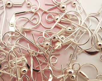 50 Pairs Silver Plated Ear Wires - Sample Pack
