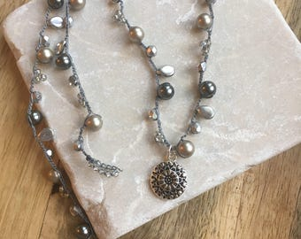 Bead Crochet Necklace - Dressy Boho Style - Neutral with Antique Silver Pendant - Mother's Day Gift