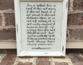 Hand Lettered - Modern Calligraphy - 1 Corinthians 13:4-7- Love is Patient, Love is Kind - 8X10 In. Drawing Paper