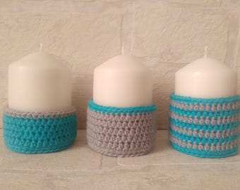 Set of 3 candle holders to crochet