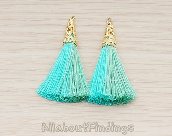 PDT1257-03-BG // Blue+Green Silk Gold Plated Textured Corn Top Longer and Two color Tassel Pendant, 2 Pc