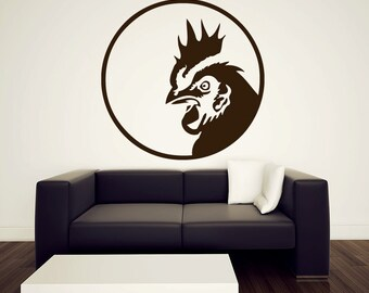 Rooster Wall Decal - Vinyl Sticker - 36""