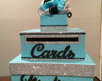 Island blue/ turquoise and black sweet 16 box