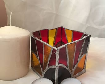 Stained glass tealight holder, candle holder, stained glass, copper foiled, square candle holder, candle lamp, tea light