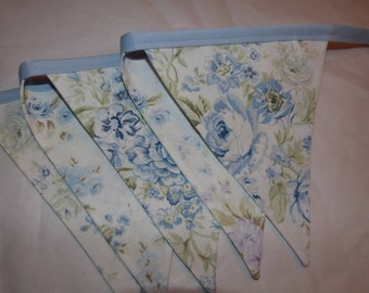 Shabby Ashwell Wildflower Blue Rose Floral Chic, Baby Nursery, Photo Prop, Shower Fabric 5 Bunting Flags - 4.5 Feet - READY TO GO