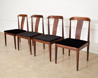 Mid Century Dining Chairs, Solid Walnut Dillingham Dining Chairs, Mid Century Modern, Vintage, Set of 4