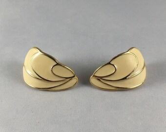 Trifari Enamel Off White Earrings Curved Stud Back Vintage