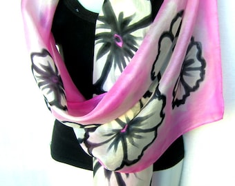 """Silk Scarf, Hand Painted Silk Scarf, Pink Black White, Floral Silk Scarf, 71"""" x 18"""", Gift For Her"""