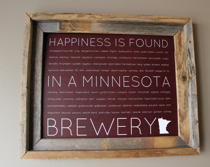 Happiness Is Found In A Minnesota Brewery Word Art Print (Maroon) - Unframed