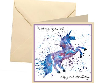 Unicorn birthday card, blank card, greetings card, birthday card, unicorn card, magical birthday