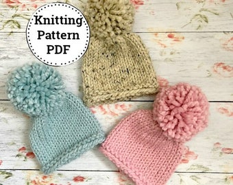 Pattern | Knitting Pattern | Chunky Knit Hat | Newborn/Baby/Toddler | Ava | Instant Download
