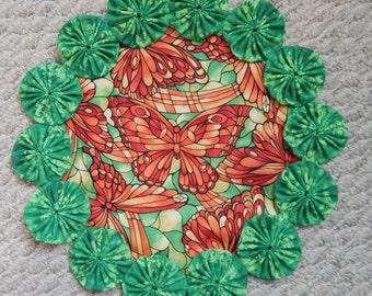 Glasmalerei Schmetterling grün und Orange Deckchen