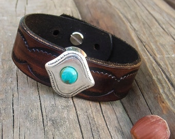 Mens leather bracelet, Leather cuff with a matte silver slider and Arizona turquoise, Urban chic cuff bracelet, Southwestern