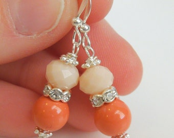 Coral Bridesmaid Earrings - Pearls and Crystals - Rhinestone - Sterling Silver Option - Bridesmaids Jewelry