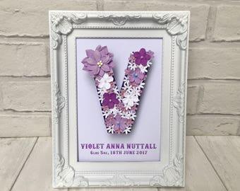 Christening gift for girl, Nursery baby frame, Violet nursery decor, Personalised letter V, Flower letters for gift, Gift for Niece