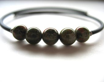 Unakite Bracelet, Unakite Stone Cuff Bracelet, Handmade Gemstone Unakite Jewelry