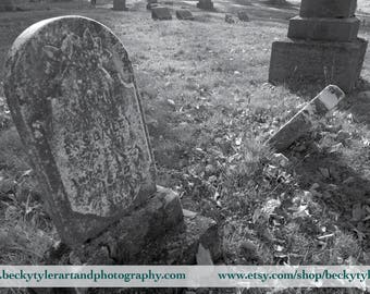 Cemetery Tombstones Black and White Photography Fine Art Photo Print