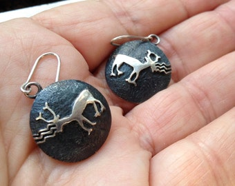 Sterling Silver Deer Earrings - Contemporary Style