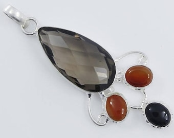 Smokey Quartz & Black Onyx Carnelian Multi Gemstone .925 Silver Pendant Size 2 Inches Long Jewelry