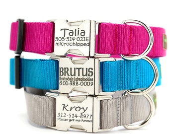 Personalized Dog Collar - All Metal Buckle Engraved Dog Collar with 22 Nylon Colors to Choose From - ID Dog Collar - Custom Dog Collar